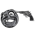 monochromatic emoticon pointing a gun on his head vector image vector image