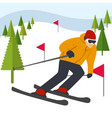 mountain skier slides from mountain vector image vector image