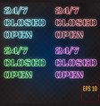 open closed 247 hours neon light on brick wall 24 vector image