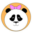 panda with pink bow on white background vector image vector image