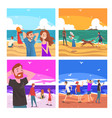 people relaxing on seaside at summer time set vector image