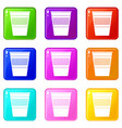 plastic office waste bin icons 9 set vector image vector image