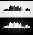 queens new york usa skyline and landmarks vector image vector image
