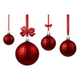 red christmas balls with satin bow vector image vector image