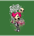 red-haired skeleton is holding a gun vector image vector image