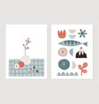 retro christmas scandinavian greeting cards vector image vector image