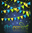 rio carnival festive postcard with bunting vector image vector image