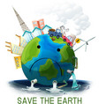 sad polluted save earth poster vector image vector image