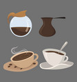 set coffee drinks in cups collection of vector image