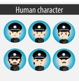 set men European character police officer vector image vector image