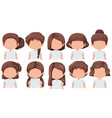 set of girl with different hairstyle vector image vector image