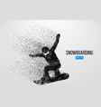 silhouette of a snowboarder jumping isolated vector image vector image