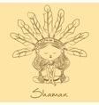 sketch Shaman redskin vector image vector image
