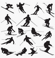 ski new silhouettes vector image vector image