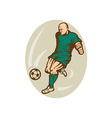 Soccer player running and kicking the ball vector image vector image