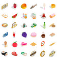 sweet icons set isometric style vector image vector image