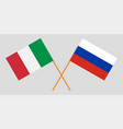 the crossed russia and italy flags vector image vector image