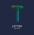 the letter t latin alphabet display vector image