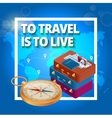 Travel concept Travel bags passport foto camera vector image