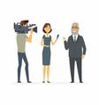 tv presenter having an interview - cartoon people vector image