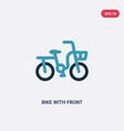 two color bike with front basket icon from travel vector image