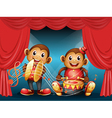 Two monkeys performing at the stage vector | Price: 1 Credit (USD $1)