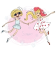 Two pretty loving girls jumping for joy vector image