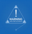 warning sign in triangle on blueprint background vector image vector image