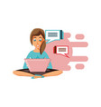 woman sitting with laptop and speech bubbles vector image vector image
