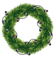 Wreath of Christmas tree branches with a garland vector image vector image