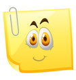 Yellow sticky note with happy face vector image