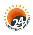 24hr emergency services logo vector image