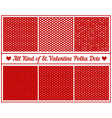 All Kind of St Valentines Hearts Polka Dots Set of vector image