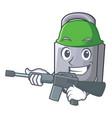 army character padlock on the wooden door vector image