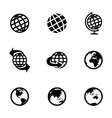 black globe icons set vector image vector image