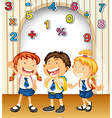 Boy and girls in school uniform vector image
