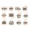 cakes desserts and pastry sweets sketch lettering vector image
