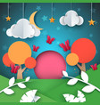 cartoon paper landscape cloud star moon tree vector image vector image