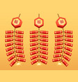 chinese fireworks firecrackers bunch garland icon vector image vector image