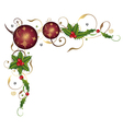 Christmas balls and holly vector image vector image