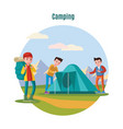 colorful camping and backpacking template vector image vector image