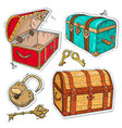 colorful sticker set old pirate chests with lock vector image vector image