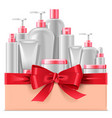 cosmetic packaging with red bow vector image vector image