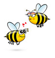 cute cartoon bees in love on white vector image