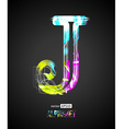 Design Light Effect Alphabet Letter J vector image