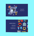 flat theatre icons business card vector image vector image