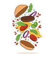 flipping burger food levitation vector image