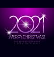 greeting card merry christmas 2021 elegant font vector image