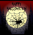 halloween party pumpkin trees bats and full moon vector image vector image
