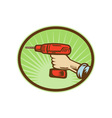 Hand holding a cordless drill side view vector image vector image